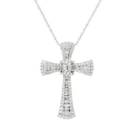 Baguette & Round Diamond Cross Pendant, 14K, 3/4 cttw, by Affinity