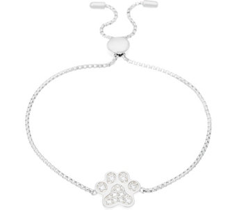 Diamonique Paw Print Adjustable Bracelet, Sterling - J330597