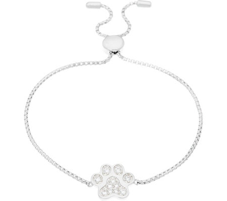 Diamonique Paw Print Adjustable Bracelet, Sterling