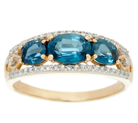 Three-Stone Kyanite & Diamond Band Ring, 14K Gold 1.65 cttw