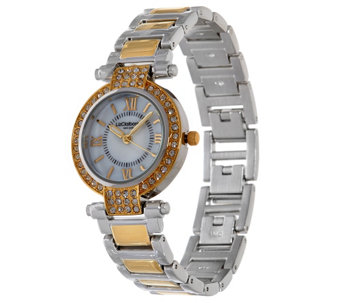 """As Is"" Liz Claiborne New York Mother of Pearl Watch w/ Crystals - J332197"