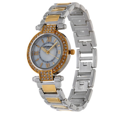 """As Is"" Liz Claiborne New York Mother of Pearl Watch w/ Crystals"