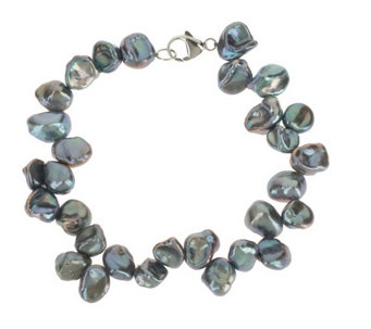 """As Is"" Honora Cultured Pearl 7.0mm Keshi Bracelet with Sterling Clasp - J332897"