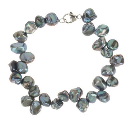 """As Is"" Honora Cultured Pearl 7.0mm Keshi Bracelet with Sterling Clasp"