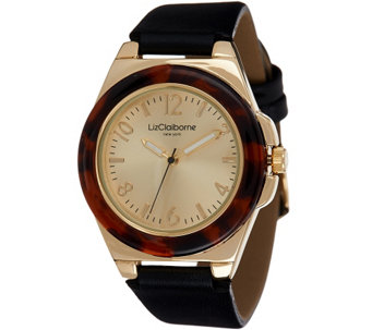 """As Is"" Liz Claiborne New York Simulated Tortoise Shell Watch - J333097"