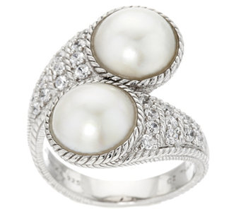 """As Is"" Judith Ripka Sterling Diamonique & Mabe Pearl Bypass Ring - J334097"