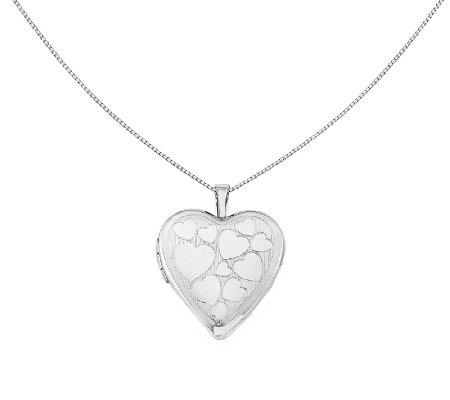 "Sterling 18"" Floating Hearts Locket Necklace"