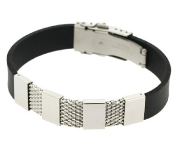 Steel by Design Men's Stainless Steel Mesh andRubber Bracelet - J337597