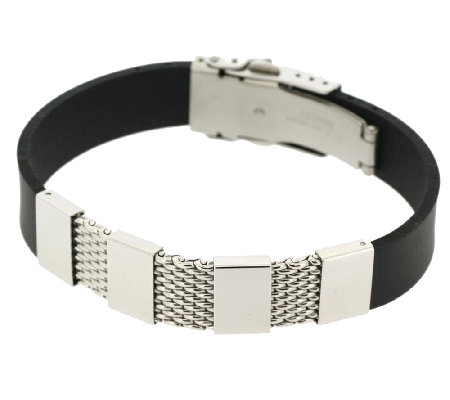 Steel by Design Men's Stainless Steel Mesh andRubber Bracelet