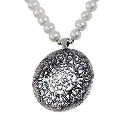 Or Paz Sterling Cultured Pearl Strand Necklace