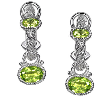 Judith Ripka Sterling 1.90cttw Peridot Charm Earrings
