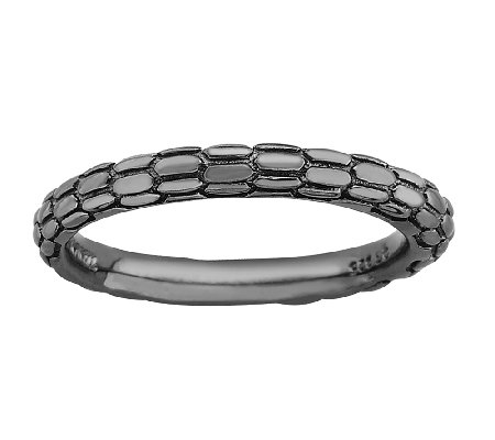 Simply Stacks Sterling & Black Plated TexturedRing