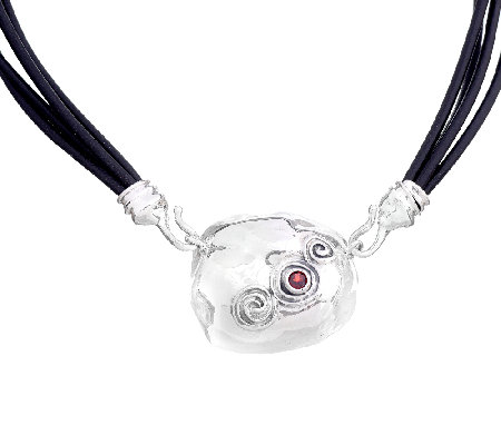 Hagit Sterling & Garnet Accent Pendant with Leather Necklace
