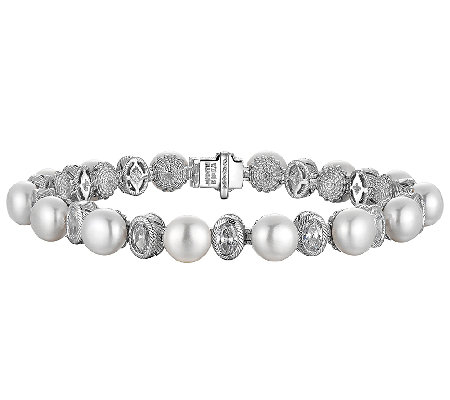 "Judith Ripka Sterling Cultured Pearl & Diamonique 8"" Bracelet"
