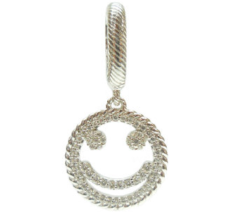 Judith Ripka Sterling Diamonique Smiley Face Charm - J340197