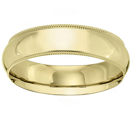18K Gold 6mm Milgrain Comfort Fit Wedding BandRing