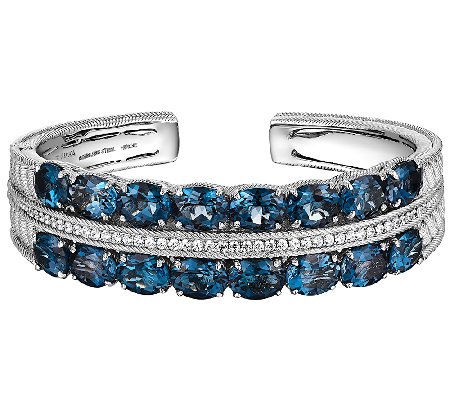 Judith Ripka Sterling Diamonique & London Blue Topaz Cuff