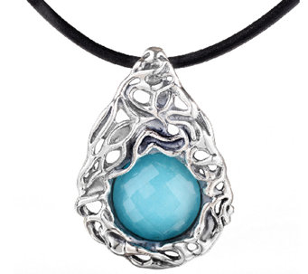 Hagit Sterling Turquoise Doublet Pendant w/ Leather Cord - J340697