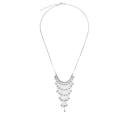 Vicenza Silver Sterling Diamond-Cut Bead FringeNecklace