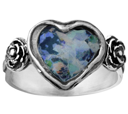 Sterling Heart Shaped Roman Glass Ring by Or Paz