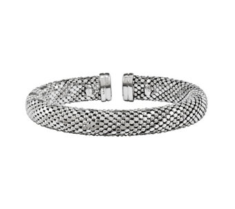 Sterling Silver Beaded Mesh Cuff by Silver Style - J342097