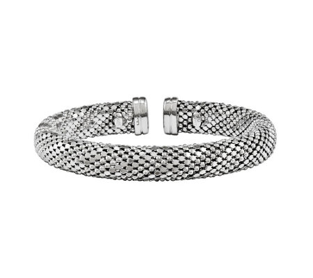 Sterling Silver Beaded Mesh Cuff b y Silver Style