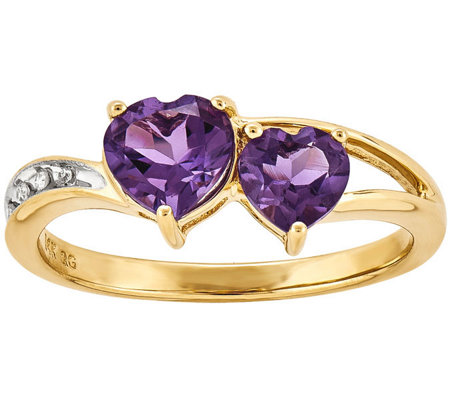 Double Heart Amethyst and Diamond Accent Ring,14K Gold