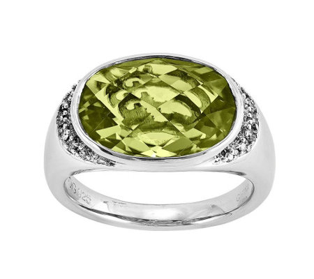 Sterling 5.50 ct Lemon Quartz and 1/7 cttw Di amond Ring
