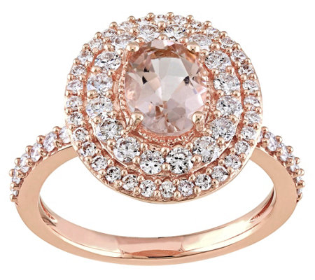1.15 ct Morganite & 1/7 cttw Diamond Ring, 14KRose Gold