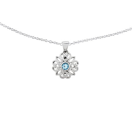 "Sterling Blue Topaz Flower Pendant w/ 18"" Chain"