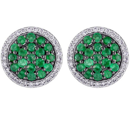 1.10 cttw Emerald & 1/4 cttw Diamond Earrings,14K