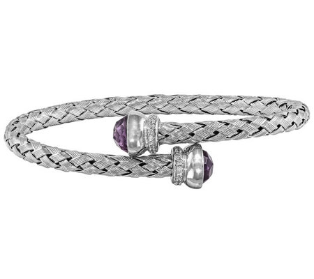 Sterling Amethyst and Crystal Braided FlexibleWrap Bangle