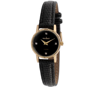 Peugeot Women's Goldtone Diamond Accent LeatherWatch - J344597
