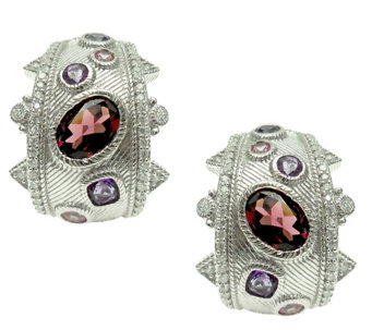 Judith Ripka Sterling Multi Gemstone Hoop Earrings - J344897