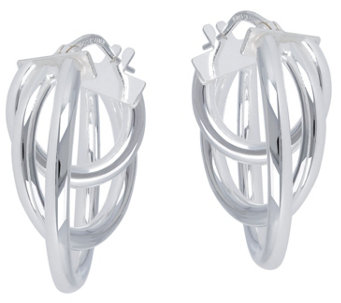 "UltraFine Silver 1"" Triple Round Hoop Earrings - J345197"