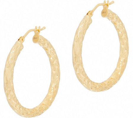 "Italian Gold 1"" Round Diamond Cut Hoop Earrings 14K Gold"