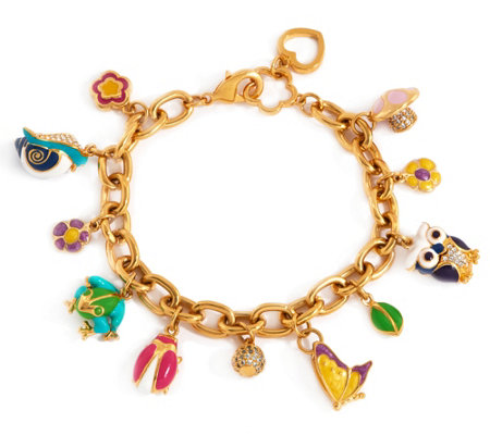 Lauren G Adams Enamel Woodland Animal Charm Bracelet