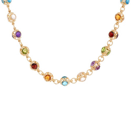 "Arte d' Oro 20"" Multi-gemstone Bead Necklace 18K Gold 28.2g"