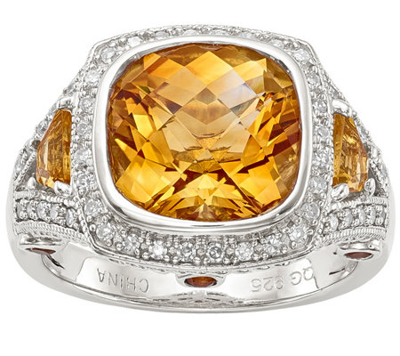 Sterling 4.60 cttw Citrine & 1/7 cttw Diamond Ring