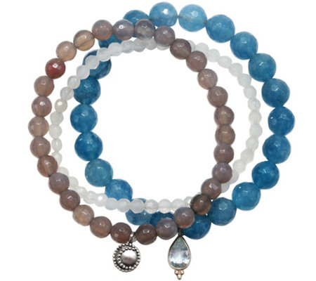 Satya Set of 3 Gemstone Bead Stretch Bracelets