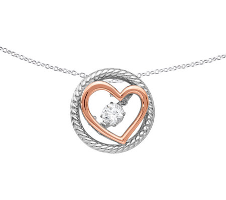 "Sterling Crystal Heart Slide with 18"" Chain"