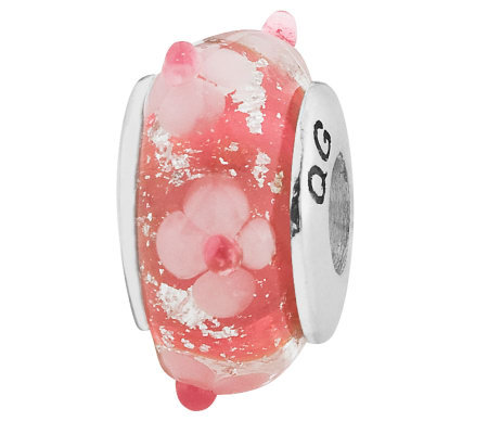 Prerogatives Sterling Pink with Flowers GlassBead