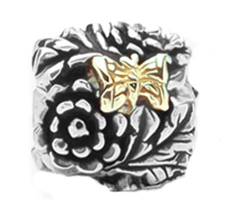 Prerogatives Sterling and 14K Gold Butterfly Floral Bead