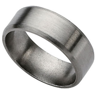 Titanium Beveled Edge 8mm Brushed Ring - Unisex - J109998