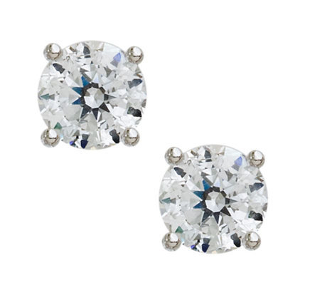 100-Facet Diamonique Round Stud Earrings, Platinum Clad
