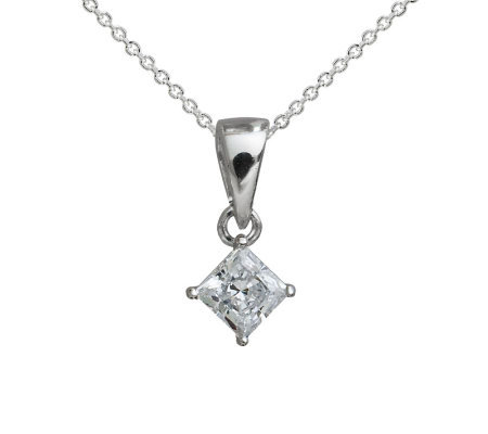 Diamonique Princess Cut Pendant with Chain, Platinum Clad