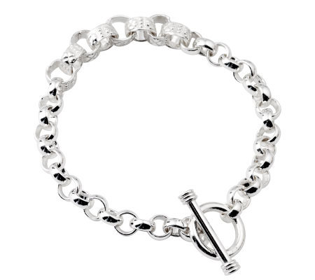 "Sterling 7-1/2"" Textured and Polished Link Bracelet, 22.1 g"