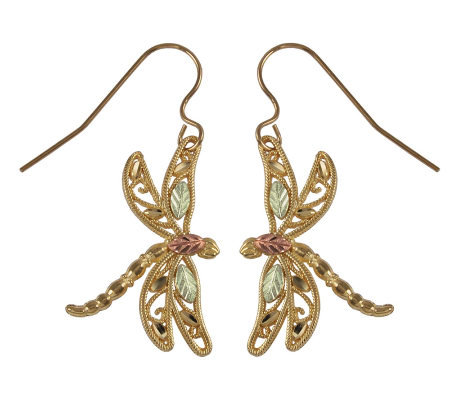 Black Hills Delicate Dragonfly Earrings, 10K/12 K/14K Gold