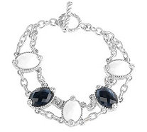Judith Ripka Sterling Diamonique Multi-Gemstone Toggle Bracelet - J261798