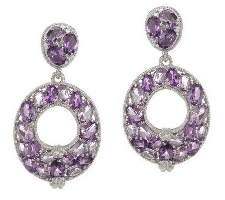 Judith Ripka Sterling 10.0ct Faceted Gemston Oval Drop Earrings